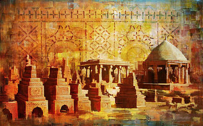 Unesco Painting - Chaukhandi Tombs by Catf