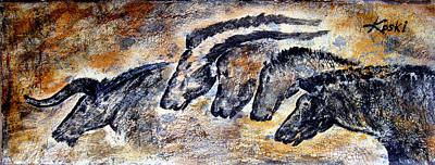 Prehistoric Painting - Chauvet Cave Auroch And Horses by Beverly  Koski