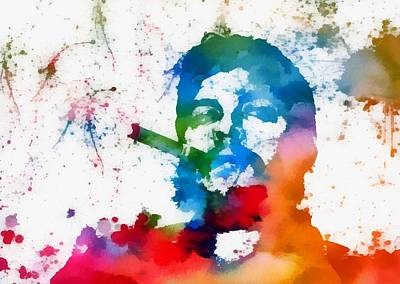 Author Mixed Media - Che Guevara Paint Splatter by Dan Sproul