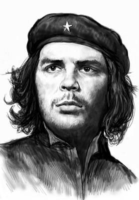Che Quevara Art Drawing Sketch Portrait  Print by Kim Wang