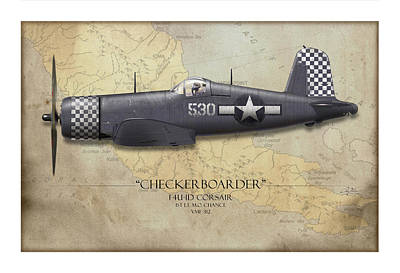Tinder Digital Art - Checkerboarder F4u Corsair - Map Background by Craig Tinder