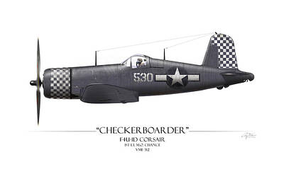 O-2 Painting - Checkerboarder F4u Corsair - White Background by Craig Tinder