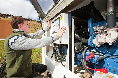 Generator Photograph - Checking Backup Diesel Generators by Ashley Cooper