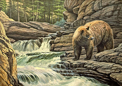 Yellowstone Park Painting - Checking Downstream       by Paul Krapf