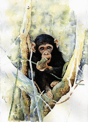 Chimpanzee Painting - Cheeky by Roger Bonnick