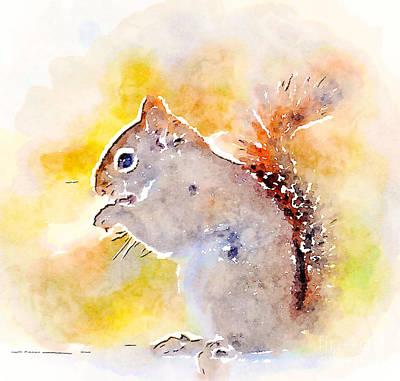 Digital Watercolor Photograph - Cheeky Squirrel by Kerri Farley