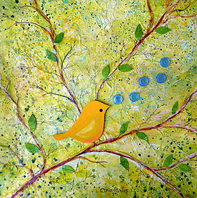 Canary Mixed Media - Cheerful Chirpy Singing Yellow Bird by Carla Parris