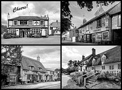 Cheers - Eat Drink And Be Merry - 4 Pubs Bw Print by Gill Billington