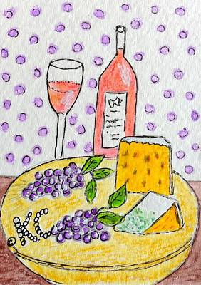 Cheese And Wine Print by Kathy Marrs Chandler