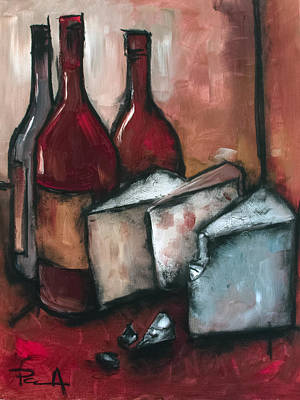 Women Tasting Wine Painting - Cheese Board by Sean Parnell