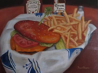 Cheeseburger Painting - Cheeseburger In Paradise by Gary  Faulkner
