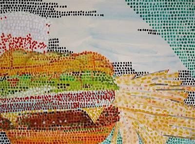Cheeseburger Painting - Cheeseburger Just Pickles Large Fries Medium Coke by Troy Thomas