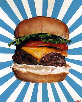 Lettuce Painting - Cheeseburger by Kelly Gilleran