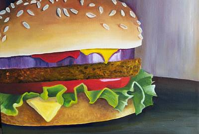 Cheeseburger Painting - Cheeseburger On A Sesame Bun by Susan Kronowitz
