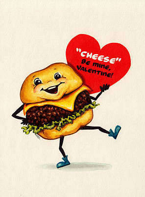 Lettuce Painting - Cheeseburger Valentine by Kelly Gilleran