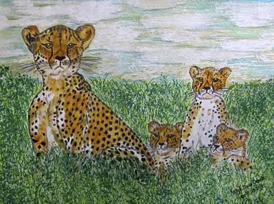 Cheetah And Babies Print by Kathy Marrs Chandler