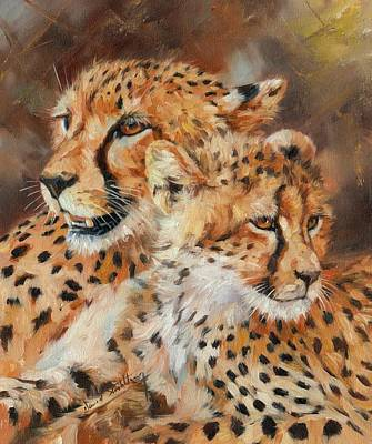 Cheetah Painting - Cheetah And Cub by David Stribbling