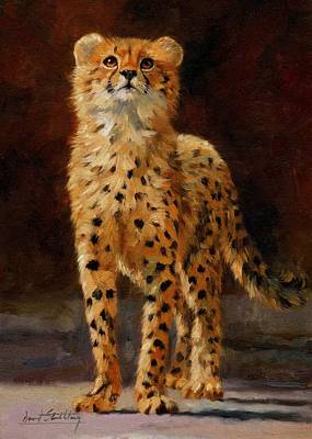 Cheetah Painting - Cheetah Cub by David Stribbling