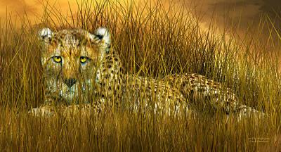 Cheetah Mixed Media - Cheetah - In The Wild Grass by Carol Cavalaris