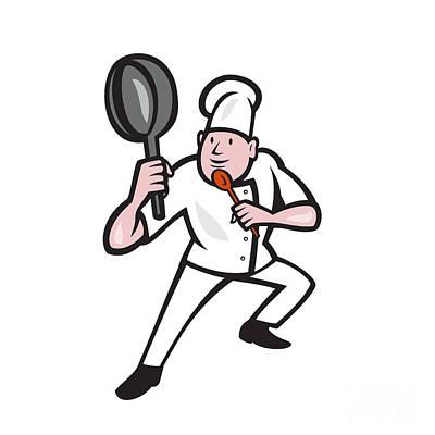 Fries Digital Art - Chef Cook Holding Frying Pan Kung Fu Stance Cartoon by Aloysius Patrimonio