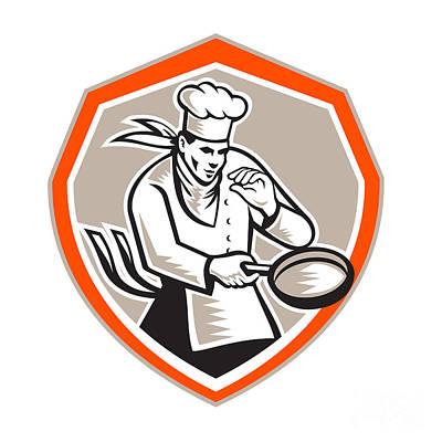Fries Digital Art - Chef Cook Holding Frying Pan Retro by Aloysius Patrimonio