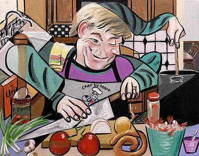 Chef With Heart Print by Anthony Falbo