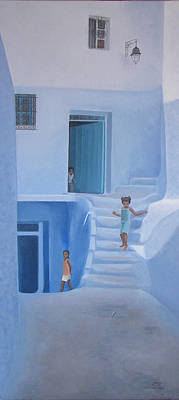 Chefchaouen Children Original by Cecile Duteil