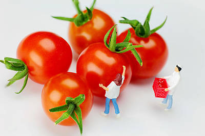 Surreal Photograph - Chefs And Cherry Tomatoes Little People On Food by Paul Ge