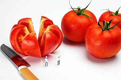 Tomato Digital Art - Chefs Chopping Tomatoes Little People Big Worlds by Paul Ge