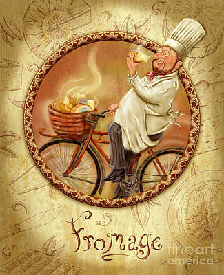 Bicycling Mixed Media - Chefs On Bikes-fromage by Shari Warren