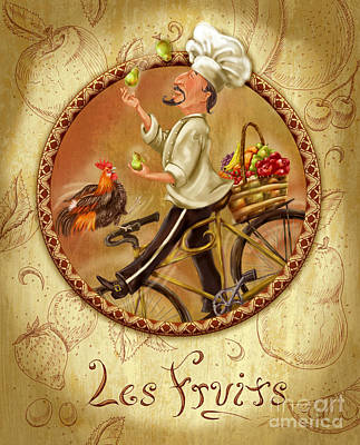 Wine Mixed Media - Chefs On Bikes-les Fruits by Shari Warren