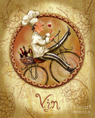 Wine Mixed Media - Chefs On Bikes-vin by Shari Warren