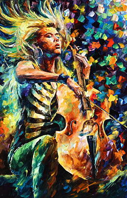 Chelo Player Print by Leonid Afremov