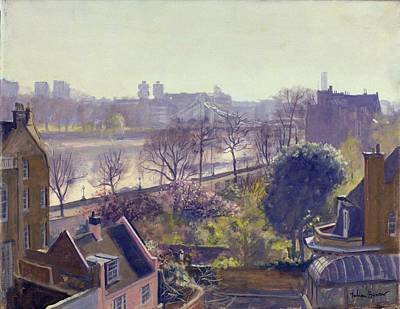 Chelsea Embankment From The Physic Garden Oil On Canvas Print by Julian Barrow