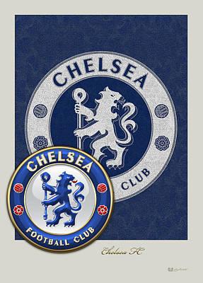 Coat Of Arms Digital Art - Chelsea Fc - 3d Badge Over Vintage Logo by Serge Averbukh