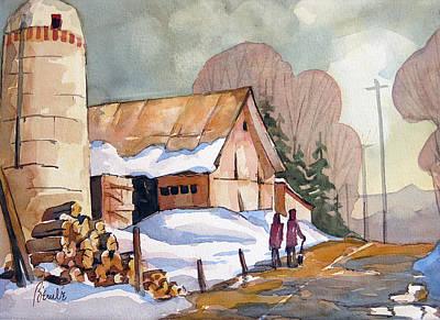 Snow Piles Painting - Chemin Vers Hudson 15x22 by Jean-Marc Berube