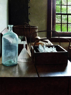 Glass Bottle Photograph - Chemist - Bottles Of Chemicals In A Wooden Box by Susan Savad