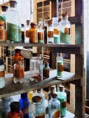 Chemistry - Bottles Of Chemicals Print by Susan Savad