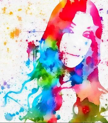 Bono Mixed Media - Cher Paint Splatter Portrait by Dan Sproul