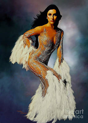 Magazine Cover Painting - Cher White Feathers by Donna  Schellack