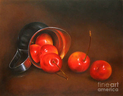 Silver Drawing - Cherries And Silver by Ranjini Venkatachari