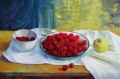 Wooden Table Painting - Cherries by Elena Oleniuc