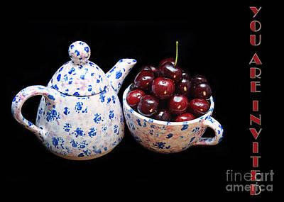 Invitations Digital Art - Cherries Invited To Tea Invitation by Andee Design