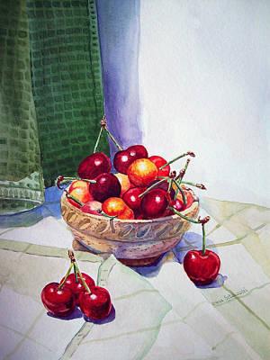 Printmaking Painting - Cherries by Irina Sztukowski