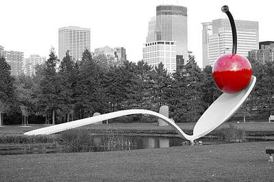 Minnesota Twins Digital Art - Cherry And Spoon - Black And White With Red by Dan Savage