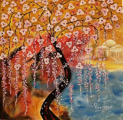 Jefferson Memorial Painting - Cherry Blossom And Jefferson Memorial by Praisey Peter