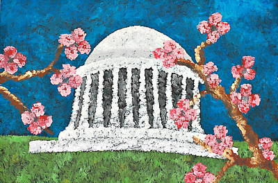 Jefferson Memorial Painting - Cherry Blossom  by Micaela Linton