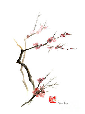 Japanese Cherry Blossoms Painting - Cherry Blossom Sakura Flowers Pink Red White Brown Black Tree Flower Watercolor Painting by Johana Szmerdt