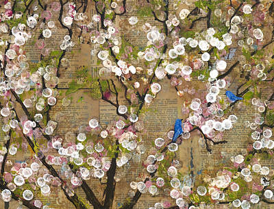 Bluebird Mixed Media - Cherry Blossoms And Blue Birds by Blenda Studio