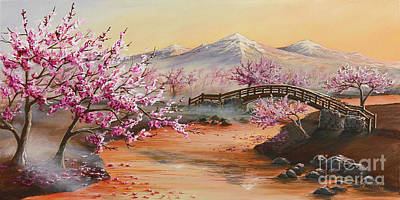 Cherry Blossoms In The Mist Print by Joe Mandrick